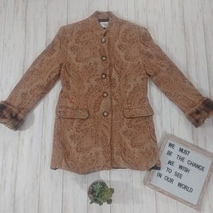 Tasha Polizzi Tapestry Paisley Faux Fur Jacket